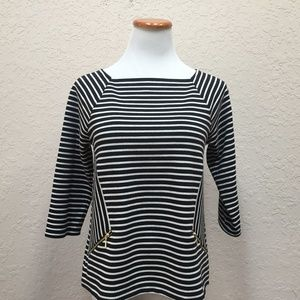 Chico's Size 0 Black White Striped 3/4 Sleeve Top